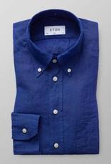 Eton Long Sleeved Blue Linen shirt