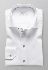Eton White Twill Shirt With Grey Details