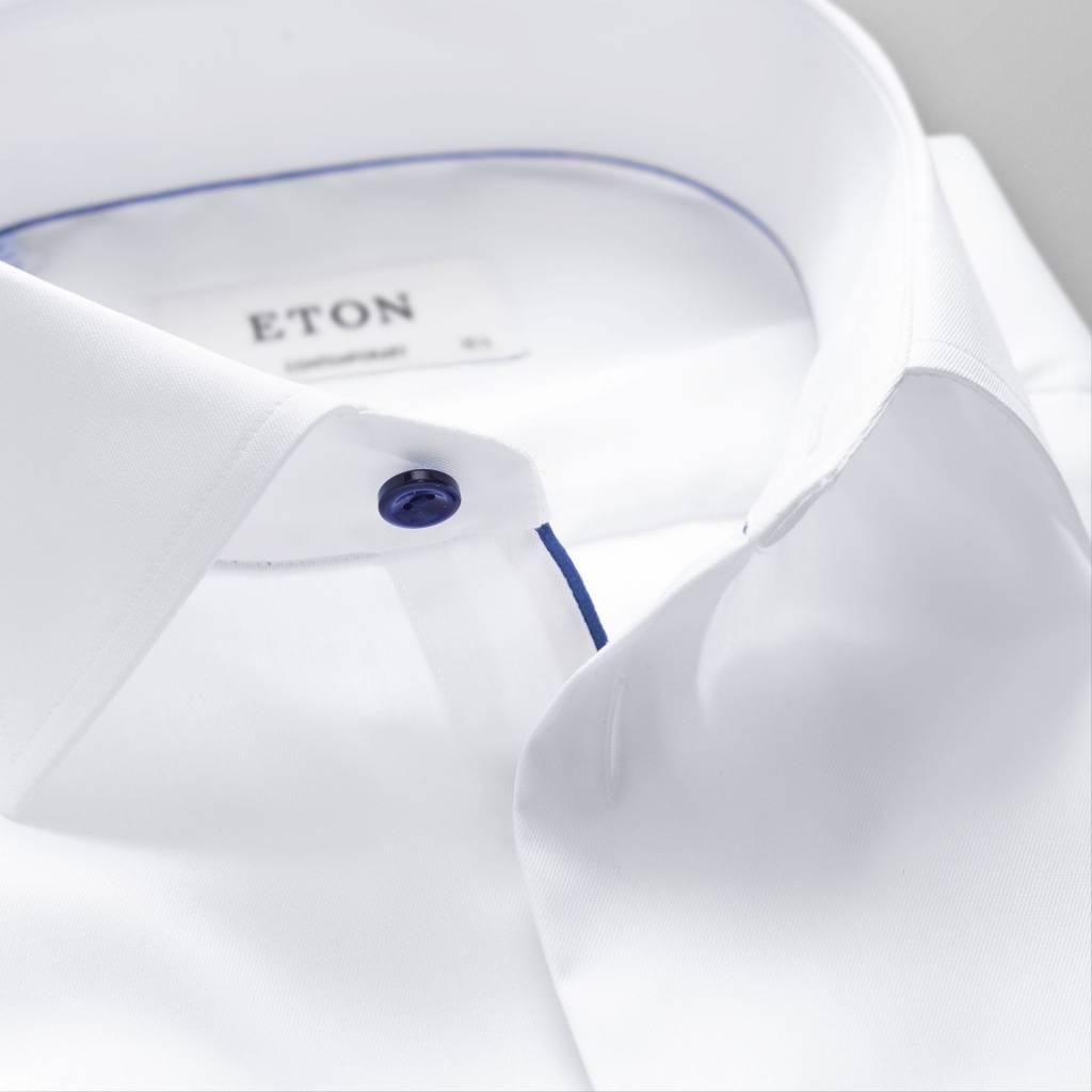 Eton Slim fit White Twill Shirt With Navy Detail