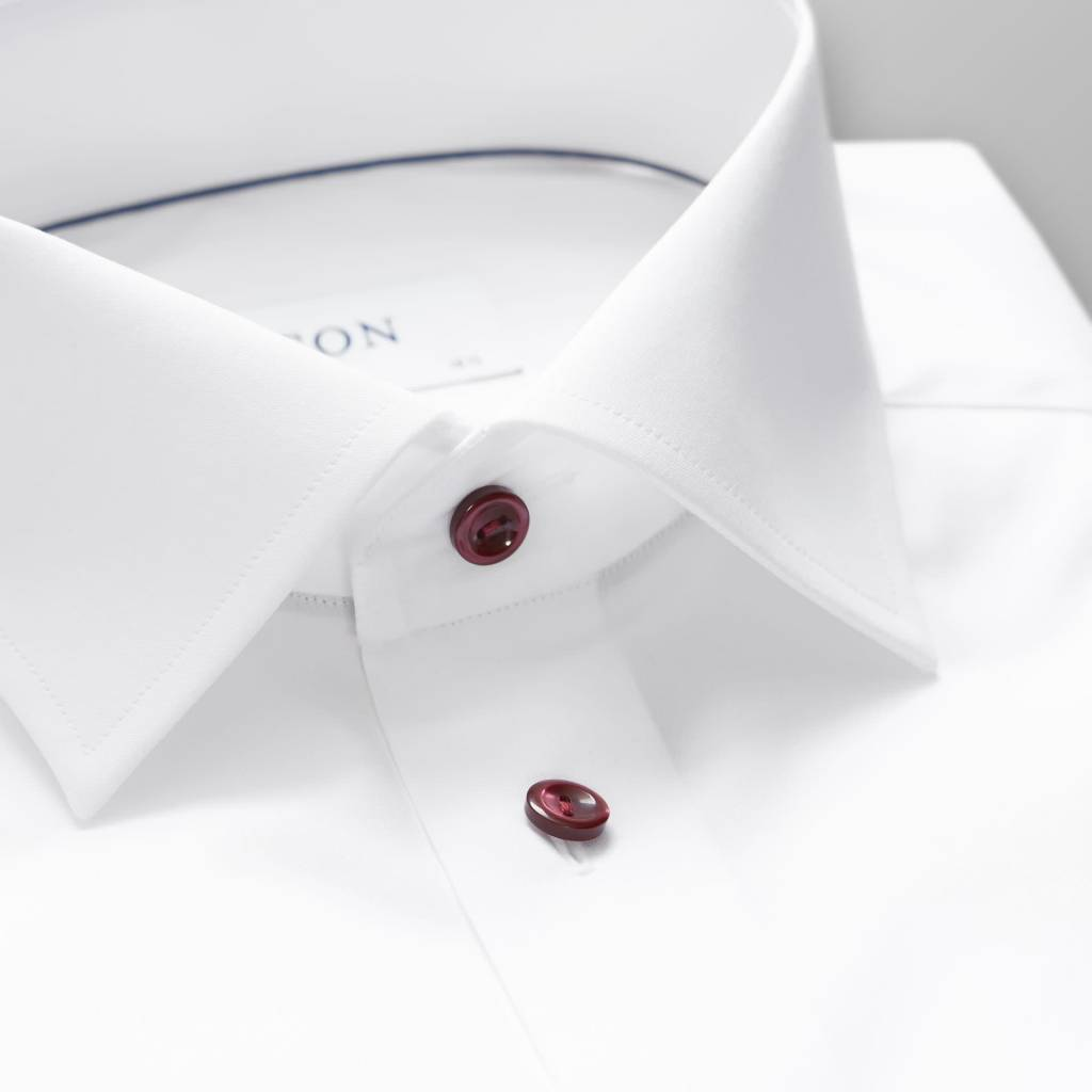 Eton White Poplin with a red button & piping
