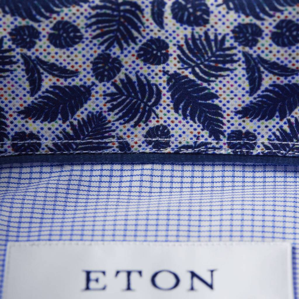 Eton Check Poplin with Fern Trim