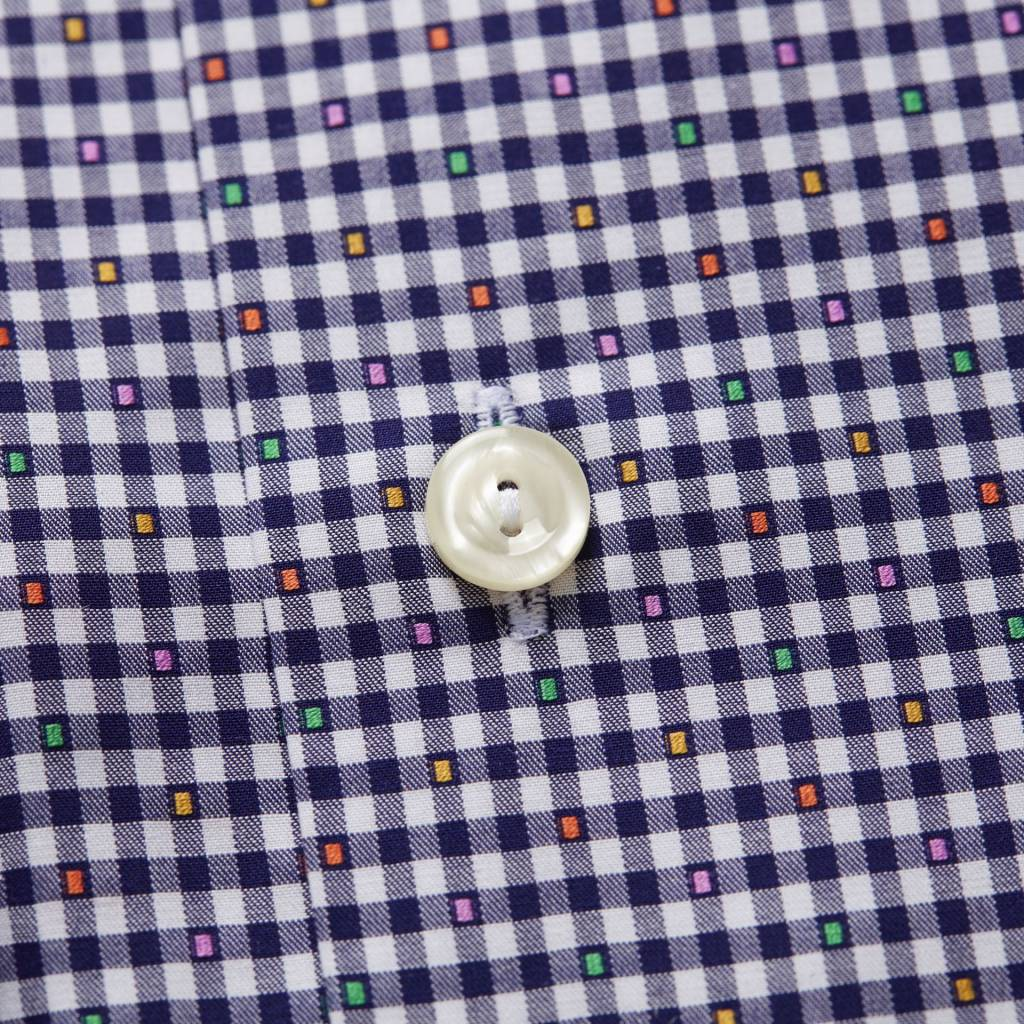 Eton Gingham with coloured micro pattern