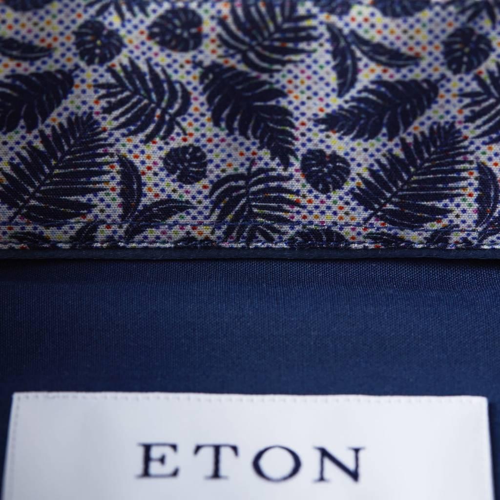 Eton Navy Poplin with fern Print