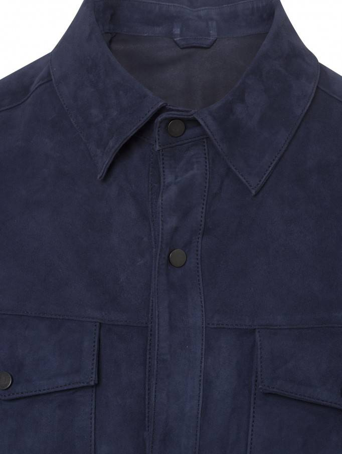 Torras French Blue Suede Overshirt