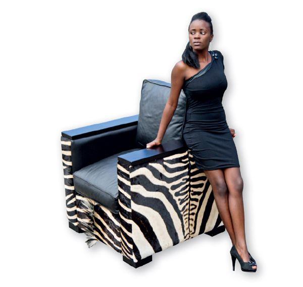 Zebra Sessel Safari aus echten Zebrafell  - Copy