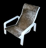Designer Sessel mit Hocker bespannt mit echten Ngunifell