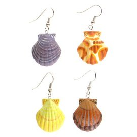 Painted Wood Scallop Earrings