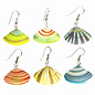 Painted Wood Clam Shell Earrings