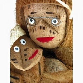 Coconut Mother and Child.  Hand Carved from one coconut. Approx: 25cm tall