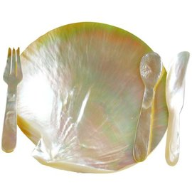 Mother of Pearl Plate with Cutlery