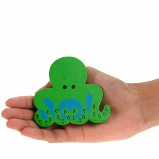 Painted Wood Octopus 8cm Green/Blue