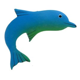 Painted Dolphin Shape 8cm Green/Blue