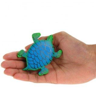 Painted Turtle Shape 8cm Green/Blue
