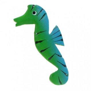 Painted Sea Horses 8cm Flatback Green/Blue