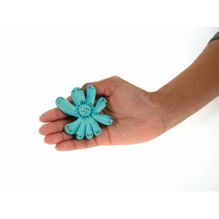 Wooden Flower, 8cm blue.