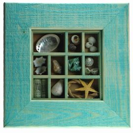 Maritime Shell Picture 15x15cm interior with 5cm frame