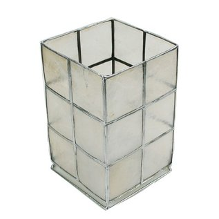 Natural Capiz Lantern with Silver Edging