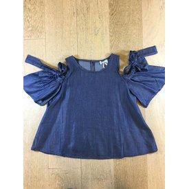 SHEVER SHEbl070SS blouse con foicchi in denim