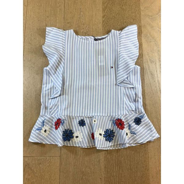 Tommy Hilfiger girls KG03416 quirky stripe ruffle top slvls