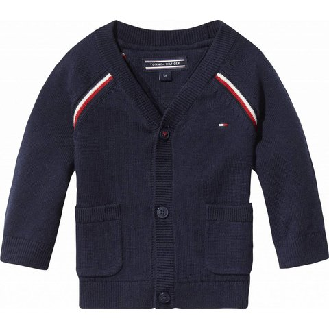 KN00793 global stripe baby boy cardigan