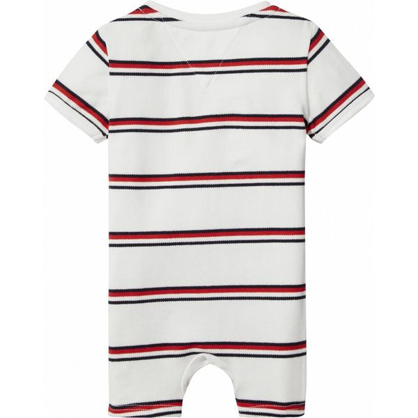 Tommy hilfiger newborn KN00808 bright rwb striped baby shortall s/s