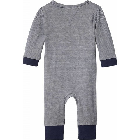 KN00862 stripe jersey baby coverall