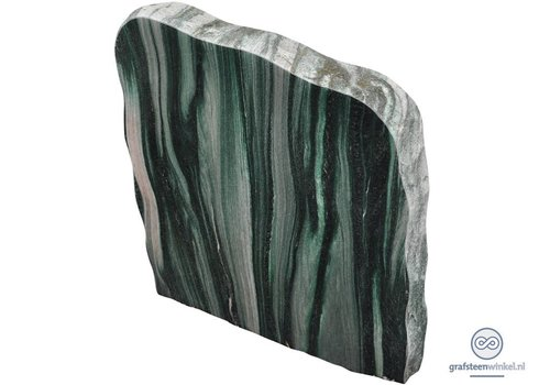 Groene/licht grijze grafsteen