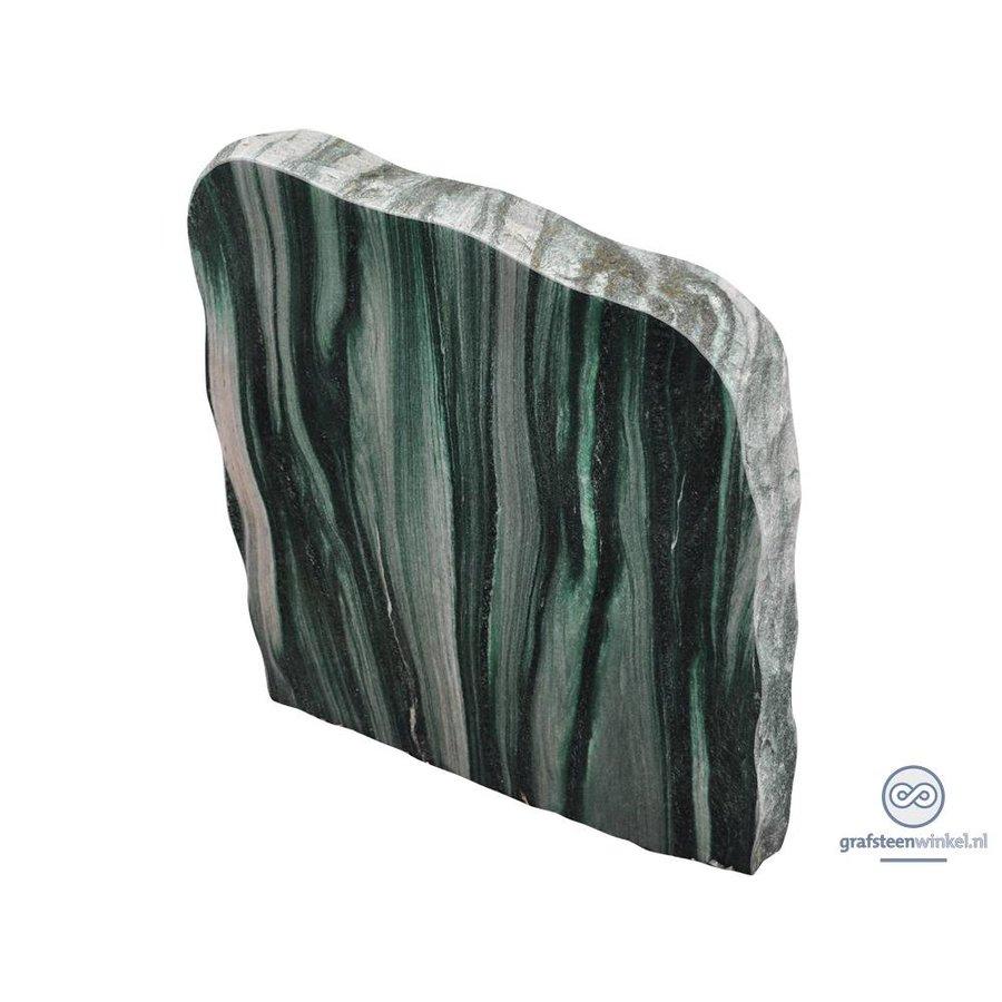 groene/ licht grijze grafsteen met ruwe zijden