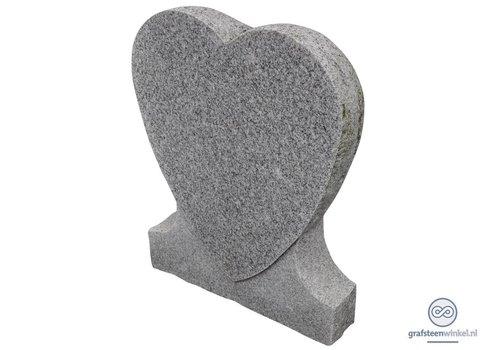 Witte hartvormige grafsteen