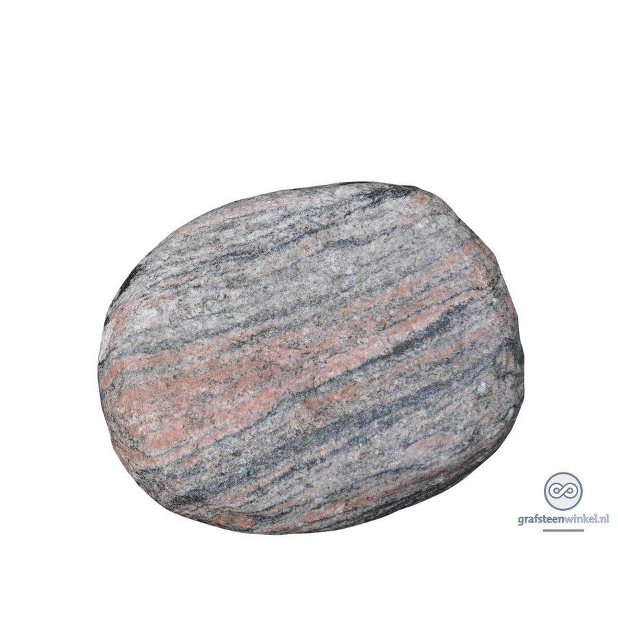 Platte, ronde grafsteen van roze graniet