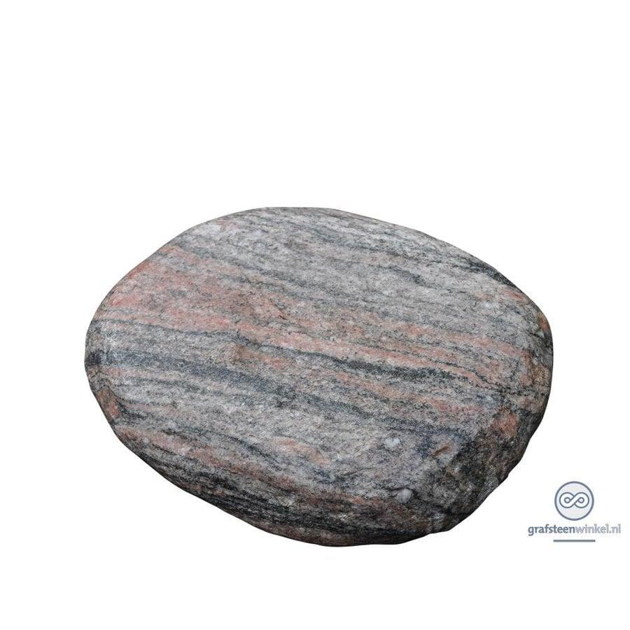 Platte, ronde grafsteen van roze graniet-1