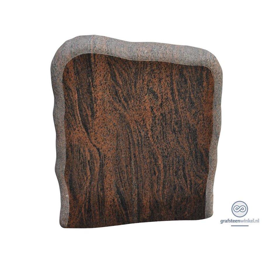 Bruin/ zwarte grafsteen met onafgewerkte zijden-1