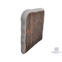 thumb-Bruin/ zwarte grafsteen met onafgewerkte zijden-2