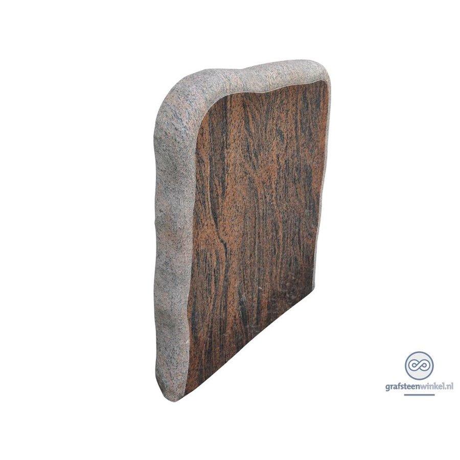 Bruin/ zwarte grafsteen met onafgewerkte zijden-2