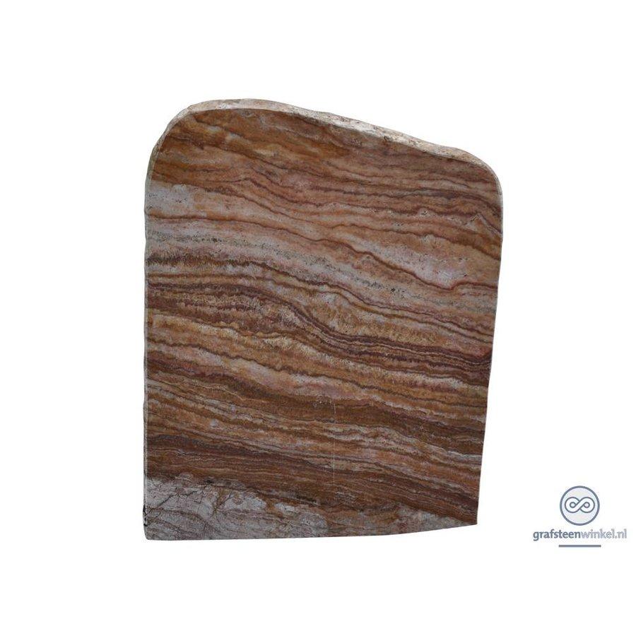 Bruin/ witte grafsteen met aflopende bovenzijde-1