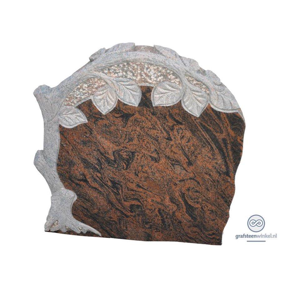 Bruin/ zwarte grafsteen met gebeeldhouwde levensboom-1