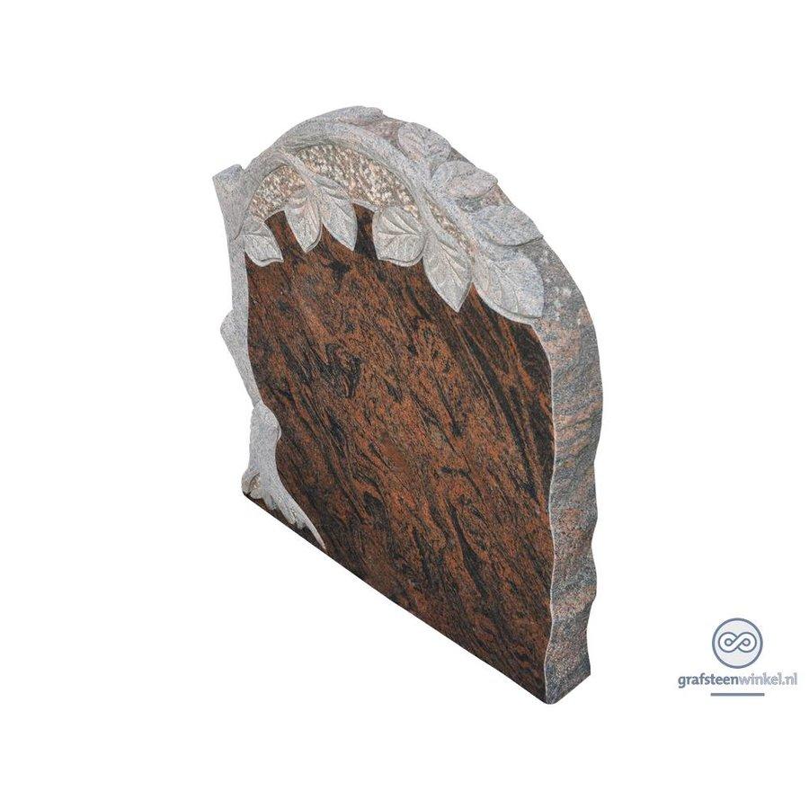 Bruin/ zwarte grafsteen met gebeeldhouwde levensboom-2