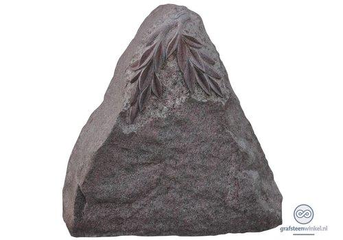 Roze granieten driehoekige grafsteen