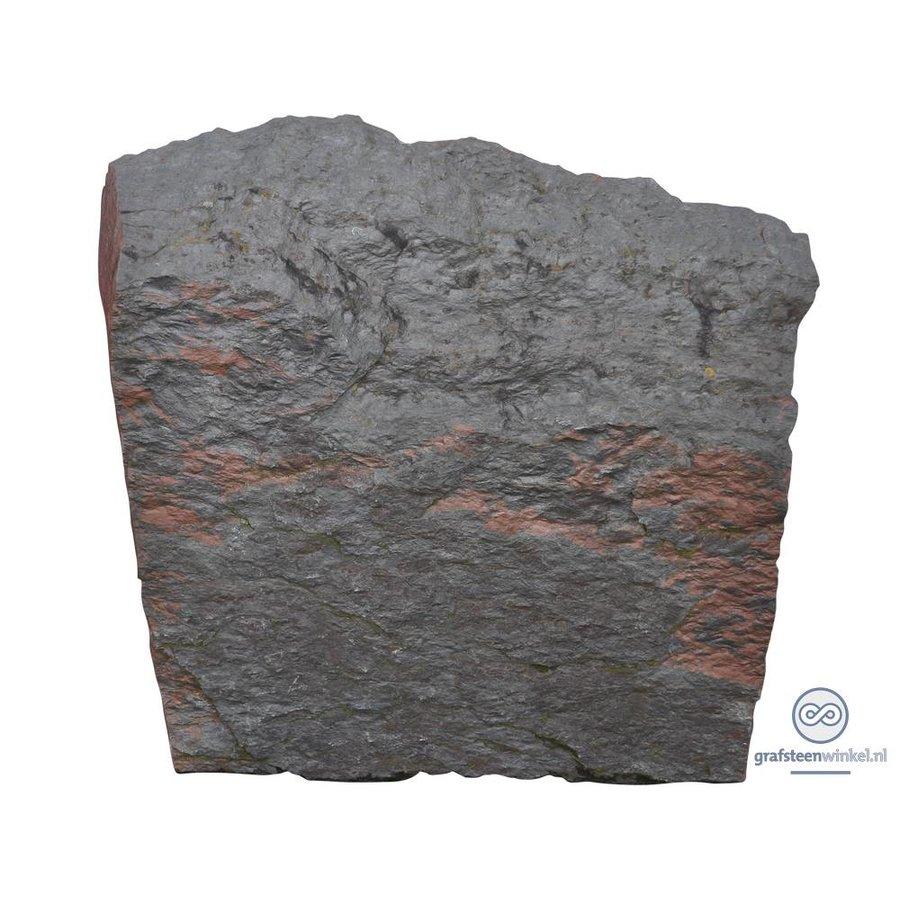 Zwarte getrommelde lei grafsteen-1