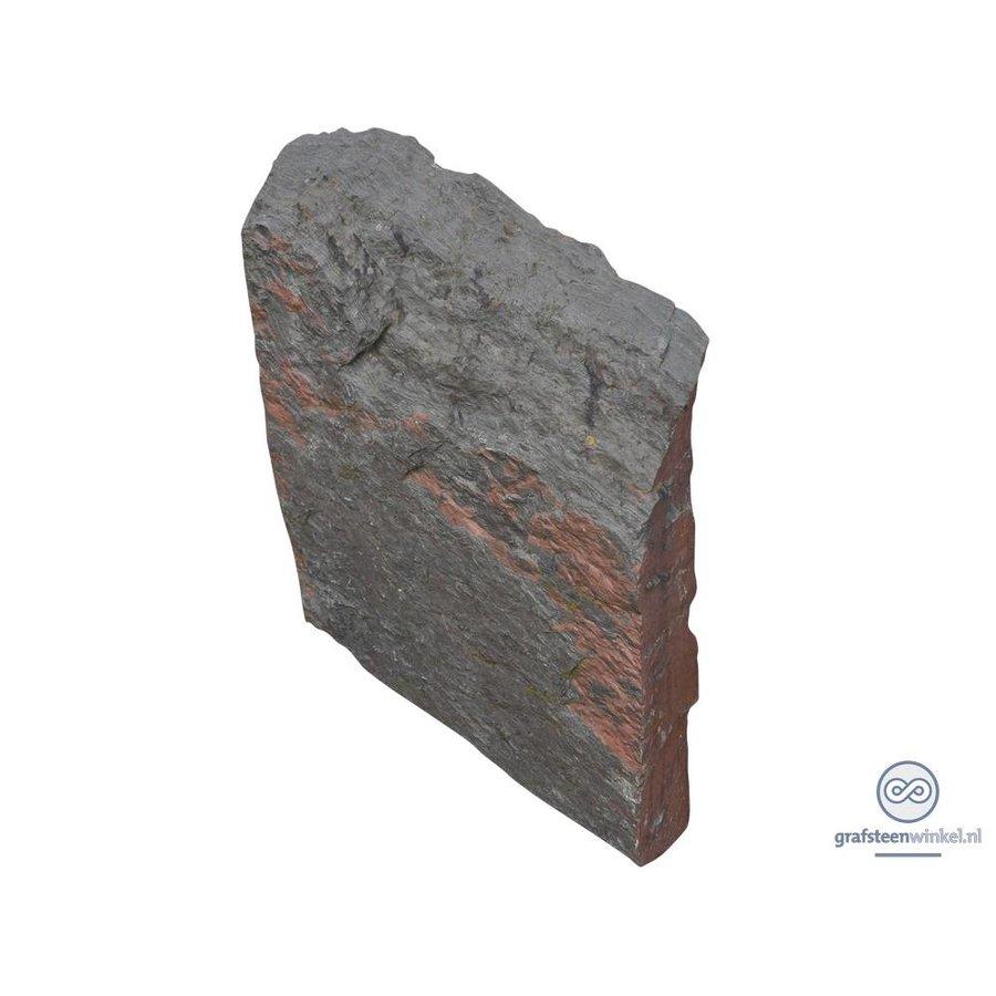 Zwarte getrommelde lei grafsteen-2