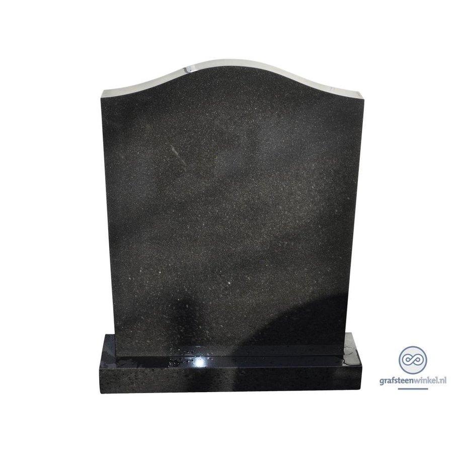 Zwarte grafsteen met halsvormige bovenzijde-1