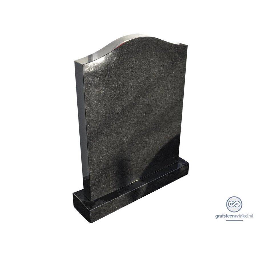 Zwarte grafsteen met halsvormige bovenzijde-2