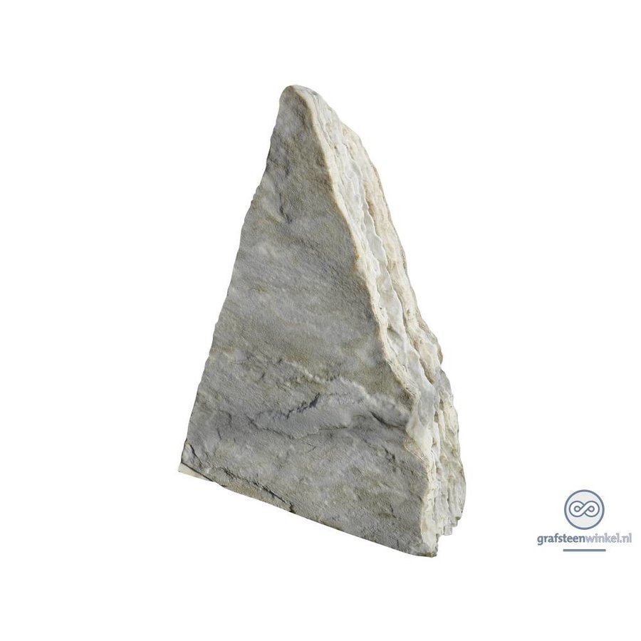 Witte driehoekige grafsteen