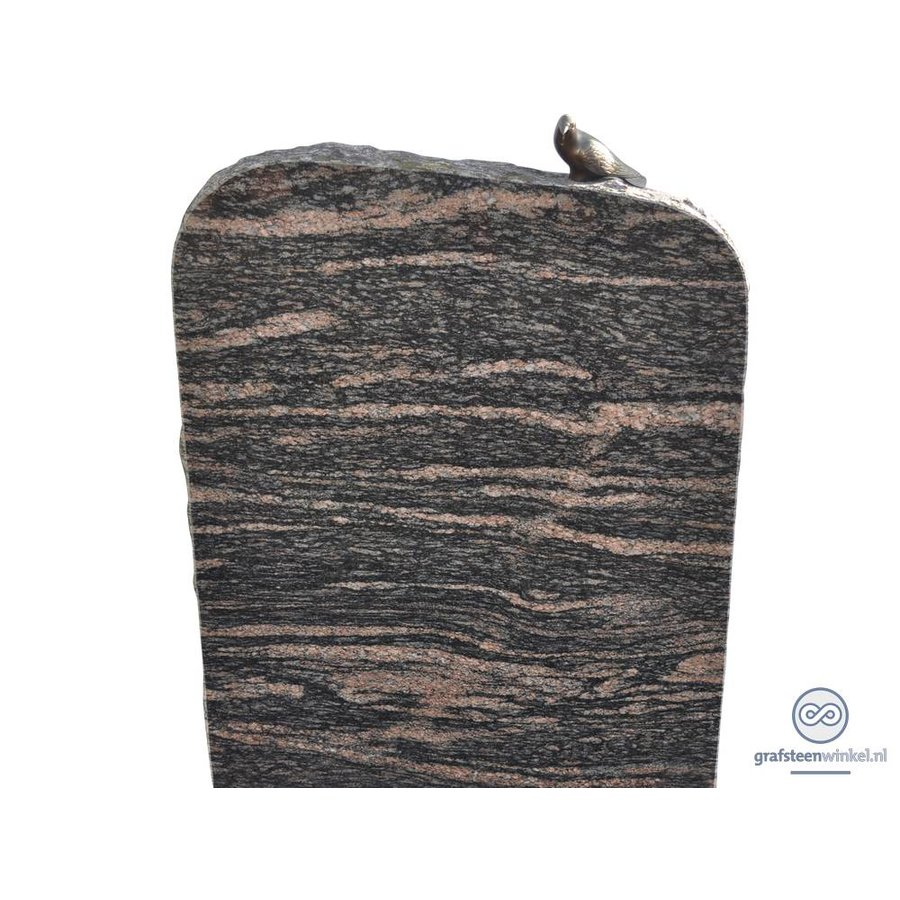 Zwarte/ bruinachtige grafsteen met duif op bovenzijde