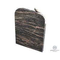 thumb-Zwarte/ bruinachtige grafsteen met duif op bovenzijde-2