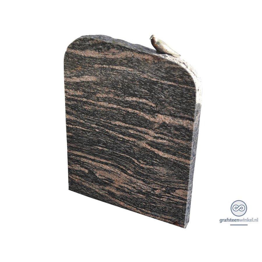 Zwarte/ bruinachtige grafsteen met duif op bovenzijde-2