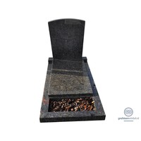 thumb-Zwarte grafsteen met afdekplaat en omranding-2