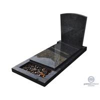 thumb-Zwarte grafsteen met afdekplaat en omranding-1