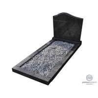 thumb-Zwarte grafsteen met ronde bovenzijde en omranding-1