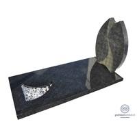 thumb-Grijze tulpvormige grafsteen met afdekplaat-2